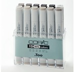 Set COPIC MARKER - 12 gris chauds