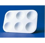 Rectangular plastic pallet with 6 slots - 9 x 13,5 cm