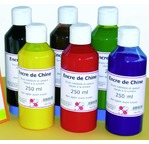 Set of 6 assorted colours of Indian Ink - 250 ml