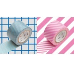MT WIDE Set de 2 : Motif I Carreaux bleus x stripe pink