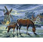 Peinture par N°- Moulin & Chevaux