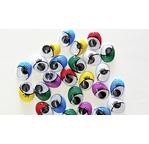 Blister 104 yeux mobiles adhésifs ovales avec cils 10mm (6clrs)