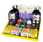 Présentoir de comptoir GRIM TOUT Halloween (assortiment de galets, palettes, crayons, pochoirs et ac