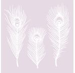 Set de 3 plumes de paon en papier washi - 12/18cm