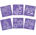 Lot de 6 pochoirs 15x15cm - Scènes de Noël