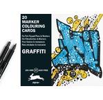 Marker Colouring Card  Books Graffiti Style