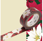 MT NOEL Motif rose de Noël / poinsettia - 1,5cm x 7m