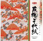 CHIYOGAMI Simple face - 15 x 15cm, 8 feuilles, 8 motifs tradi dorés