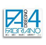 FABRIANO 4-Bloc 24x33-220 gsm-20 feuilles grain fin