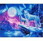 CRYSTAL ART Kit tableau broderie diamant 40x50cm Loups
