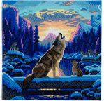 CRYSTAL ART Kit tableau broderie diamant 30x30cm Loups
