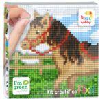 PIXEL Kit créatif tableau 12x12cm - Cheval au pré