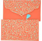 PAPERTREE DOUCHKA Gift envelope 19x10 cm Coral/Turquoise