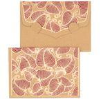 PAPERTREE NATURE Mini Env. Message + carte 8,5x6cm Kraft/Bordeaux
