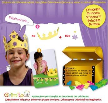 GRIM TOUT Set Princesse : 4 couronnes en mousse à décorer avec des motifs pailletés adhésifs