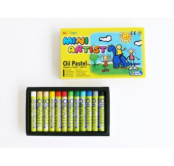 Cardboard box 12 semi jumbo oil pastels - assorted colours