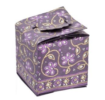 """PAPERTREE SITARA Boîte cadeau """"cube""""- 7x7x7 cm-Prune"""