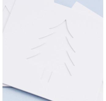 5 White DIY Cards 13x13cm CHRISTMAS TREE + envelopes