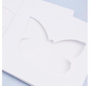 5 White DIY Cards 13x13cm BUTTERFLY + envelopes