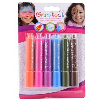 Blister 6 face painting sticks GRIM'TOUT rainbow colors