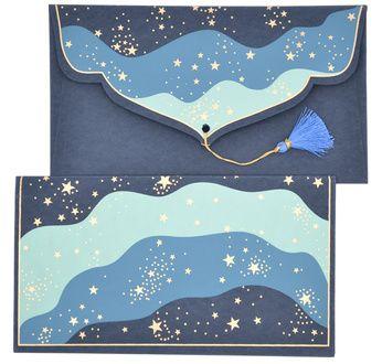 PAPERTREE STARDUST Gift envelope 19x10cm Blue