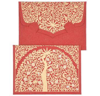 PAPERTREE GAÏA Mini Enveloppe Message + carte 8,5x6cm Ivoire/rouge