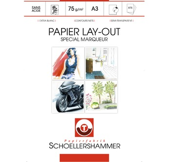 SCHOELLERSHAMMER layout paper block made for alcohol-based markers. 75g/m2 - 75 sheets A3